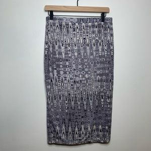Matty M Grey & White Abstract Pencil Skirt NWT